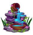 a low rocky waterfall and plants isolated on a vector image vector image