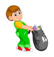 a man carry trash bag vector image