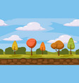 autumn landscape cartoon style trees clouds vector image