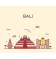 Bali skyline trendy linear vector image