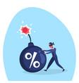 businessman blind pushing percent bomb credit debt vector image
