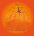 cartoon pumpkin on orange color background - vector image vector image