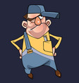 cartoon puzzled man in cap and overalls vector image vector image