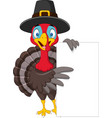 cartoon turkey holding blank sign vector image vector image