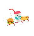 characters hamburger hot dog cocktail cup logos vector image vector image