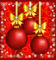 christmas red balls with bows vector image