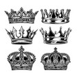 crown king and queen set black and white king vector image
