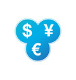currency exchange dollar euro yen icon three most vector image vector image