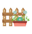 cute floral houseplant with fence vector image vector image