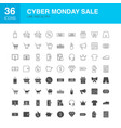 cyber monday line web glyph icons vector image