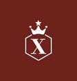 dark red x initial letter with crown logo vector image