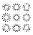 decorative black sun symbols collection set of vector image