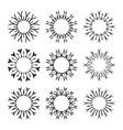 decorative black sun symbols collection set vector image