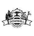 downhill mountain biking the emblem vector image vector image