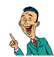 enthusiastic joyful businessman points finger vector image