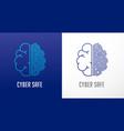 fingerprint scan logo privacy human brain icon vector image vector image