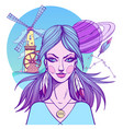 girl symbolizes the zodiac sign aquarius pastel vector image vector image