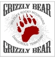 Grizzly Bear footprint emblem vector image vector image