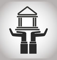 hand holding bank building banking pictogram vector image