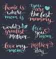 happy mothers day hand lettering set for greeting vector image vector image