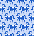 horse Gzhel painted seamless pattern Russian vector image vector image
