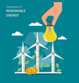 investment in renewable energy flat vector image vector image