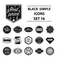 label set icons in black style big collection vector image vector image