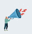 man with a loudspeaker on white background vector image vector image