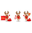 merry christmas greeting card with funny reindeer vector image