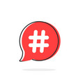 red simple thin line hashtag icon vector image vector image