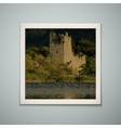 Retro photo frame with castle vector image
