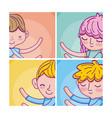 set of cute kids cartoons cards vector image