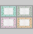 set of four beautiful invitation with a vector image vector image