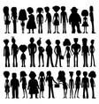 set silhouettes cartoon people vector image
