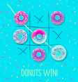 tic tac toe with sweet donuts ilustration vector image