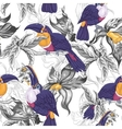 Tropical Seamless Background with Exotic Flowers vector image vector image