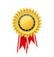 trust seal - rosette with cogged medal and ribbon vector image vector image