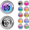 tv multicolor round button vector image vector image