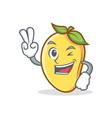 two finger mango character cartoon mascot vector image vector image