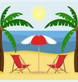 two sunbeds with sun umbrella on the sandy beach vector image vector image