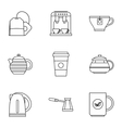 types drinks icons set outline style vector image vector image