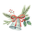 watercolor christmas bouquet with bell and vector image vector image