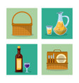 white background with frames of picnic elements vector image