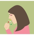 woman cough sneeze spreading virus flu vector image