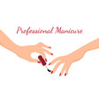 young girl hands doing manicure with red nail vector image vector image
