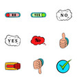 no gesture icons set cartoon style vector image