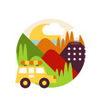 summer mountain landscape with car in logo circle