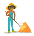 a black happy woman with a pitchfork and a vector image