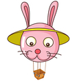 A floating bunny balloon carrying an empty basket vector image vector image