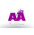 aa a dots letter logo with purple bubbles texture